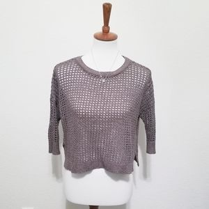 Express Open Knit, Mesh Style Shimmery Crop Top